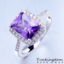 2014 new High-end design Platinum plating purple cubic zircon elegant Fashion wedding lady women for rings jewelry  X0039