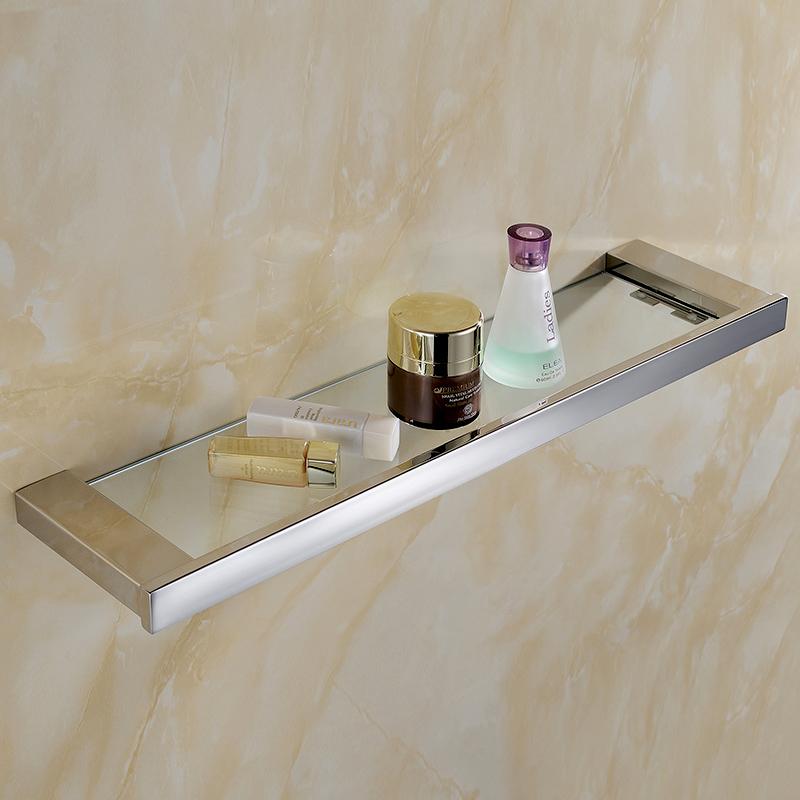 Prateleiras Do Banheiro de vidro e Polonês Quadrado Sólido 50 CM Comprimento para Camada Única Acessórios Do Banheiro Do Aço Inoxidável do SUS 304(China (Mainland))