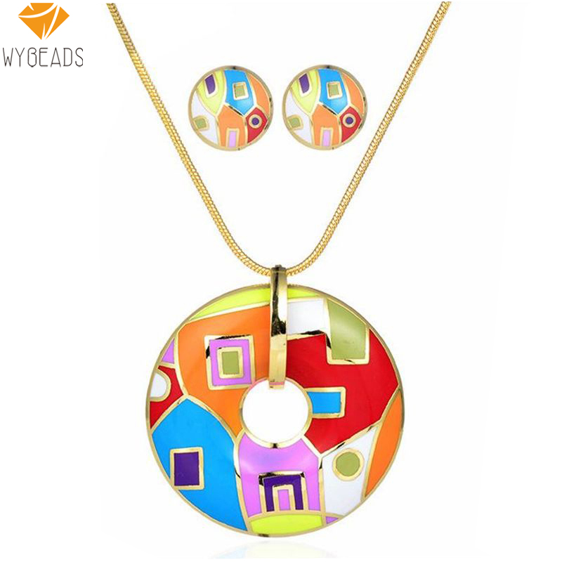 2016 Summer Style Enamel Jewelry Sets Gold Plated Vintage Colorful Zinc Alloy For Women Girl Necklace Pendant Stud Earrings T064(China (Mainland))