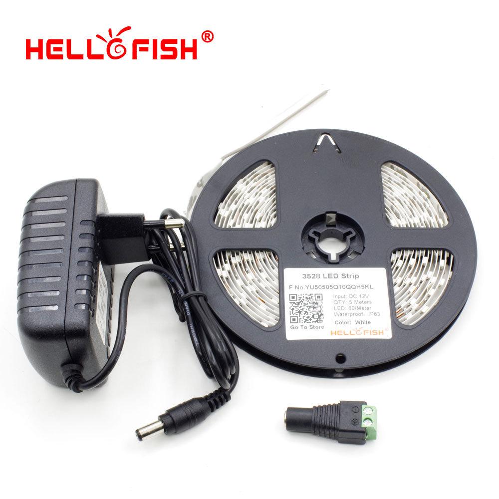 Гаджет  Hello Fish 5M 3528 300 SMD Flexible LED Strip Light + DC Female Connector +12V 2A Power Adapter White Warm White  Free Shipping None Свет и освещение