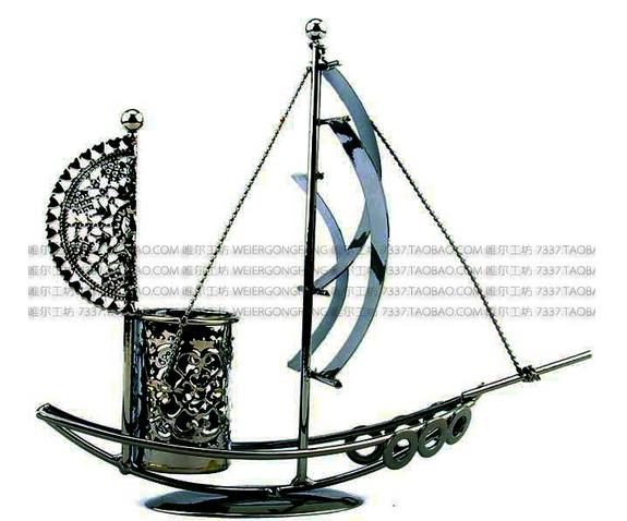Creative antique wrought iron pen container sailing model furnishing articles free shipping(China (Mainland))