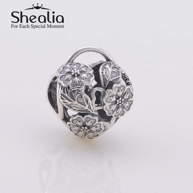Винтажный ажурные цветочный в форме сердца замок подвески-талисманы 925 чистое серебро ювелирные изделия подходит змея браслеты