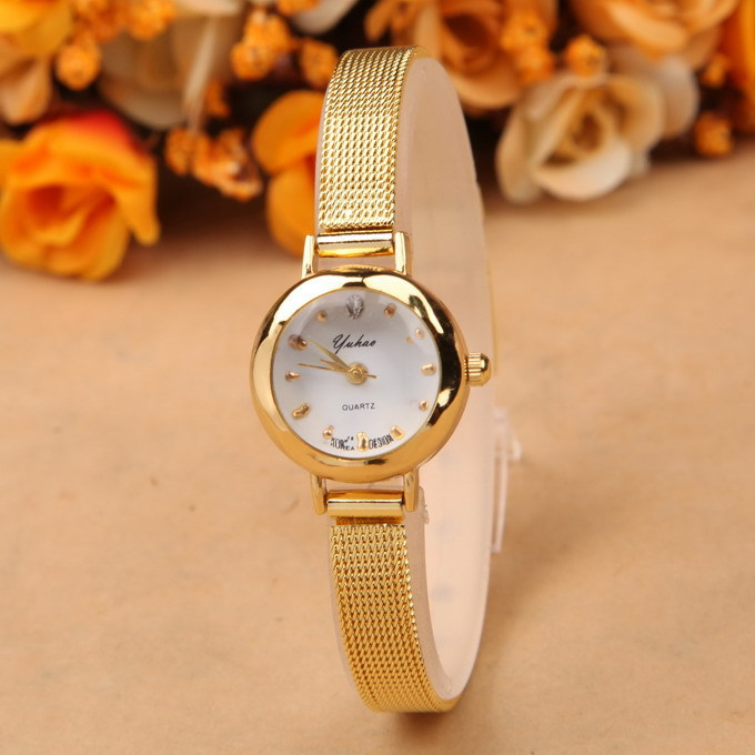 2015 Fashion Women Dress Golden Watches Brand Watch Bracelet rhinestone watches quartz Women Wristwatches