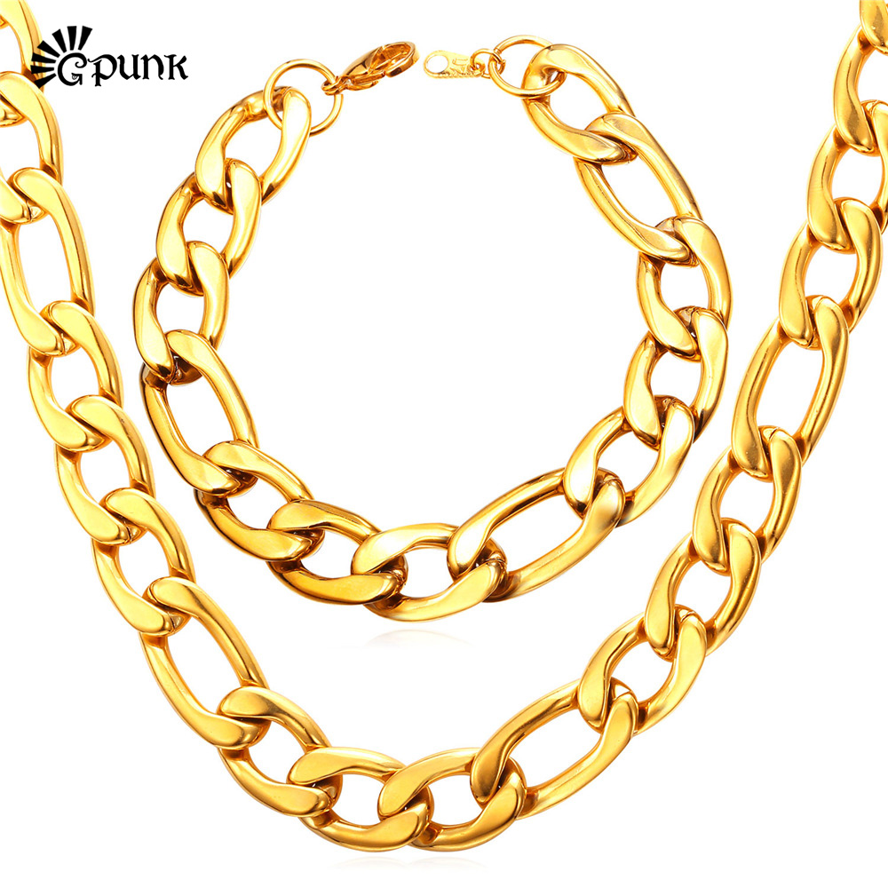 Figaro Chain Necklace Men Jewelry 316L Stainless Steel 18K Gold Plated Thick Gold Chain Necklace Bracelet Jewelry Set S2012G(China (Mainland))