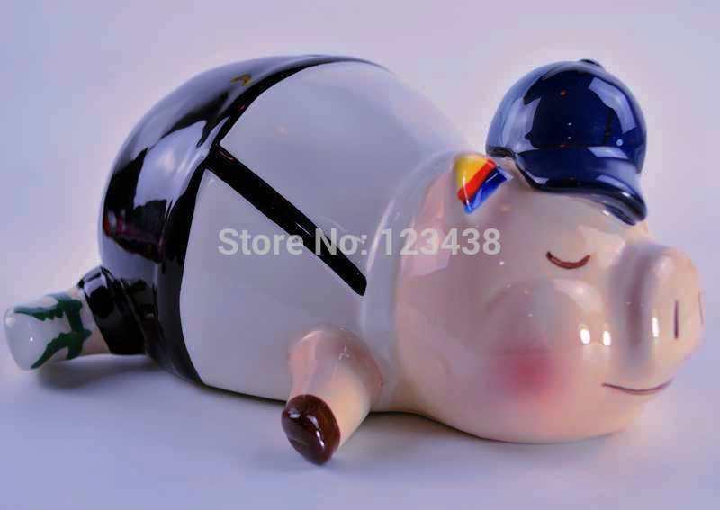 Large Cute Money Coin Porcelain china Ceramic Pig Piggy Bank Spare Change Jar Box Home Decoration Wedding Birthday Gifts(China (Mainland))