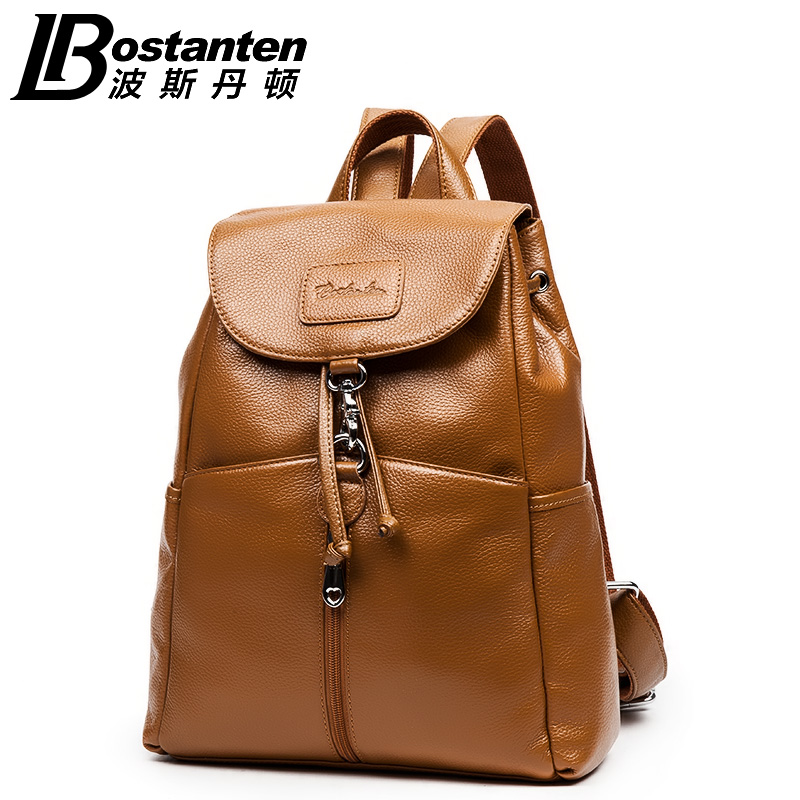 2015 Bostanten Women Genuine Cowhide Leather Backpack School Fashion Casual Travel Backpack Outdoor Shoulder Bags<br>