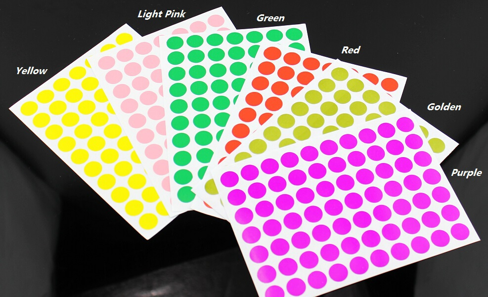 420 Pcs 1cm Circle Color Coded Label Dot Sticker Inventory Code(China (Mainland))