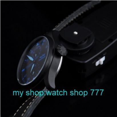 Парнис 47 мм Большой циферблат пилот Стиль часы Автоматические механические движения мужские часы PVD Роскошные часы Оптовой часы 0238a
