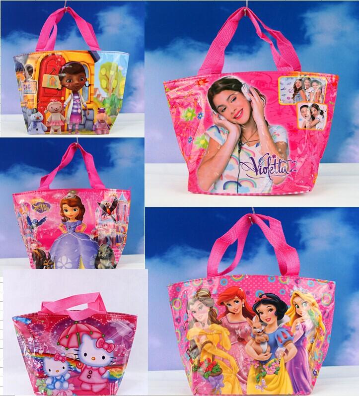 New 2015 Cute violetta princess Doc Mcstuffins Sofia Bag Cartoon Handbag school bags for Girls 31x19x12CM