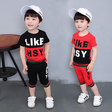 Buy 2017 Kids summer clothes baby boys clothing sets two piece suit Children's short sleeve stripe T-shirt + shorts sets 2-9 yrs 3 for $11.31 in AliExpress store