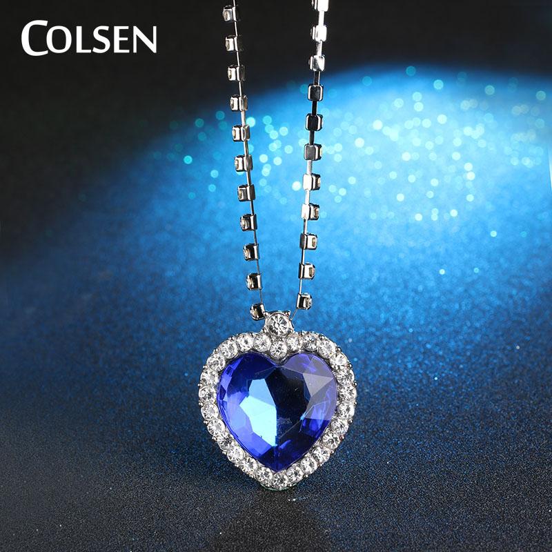 COLSEN Ocean Heart Women's New Fashion Pendant romantic jewelry luxury imitation gemstone necklace blue red bijoux supply girl(China (Mainland))
