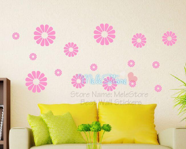 2016 Wall Decor 16pcs Flower Wall Sticker Home Decoration Elegant Cute Flowers For Kids Room Children Shop Sofa Tv Background(China (Mainland))