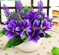Mini Purple Flowers Simulation Artificial Lilies Flowers Potted Wedding Party Home Office School Decor Flower Gift