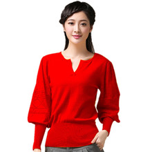 2016 New  Women  FashionPuff Sleeve Casual 5 Colors  V-Neck Cashmere Sweater Knitted Wool Sweater  For Women(China (Mainland))