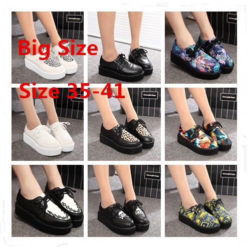 Size 35-41 Creepers Platform Shoes Woman Flats Shoes Female Creepers Shoes Footwear Women Black R03(China (Mainland))