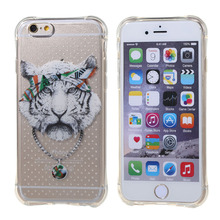 Tiger pattern for iPhone5 5s se 6 6s plus case TPU generation fall proof set transparent soft drop mobile phone protection shell