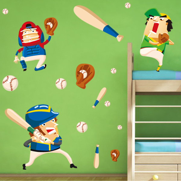 Baseball Wall Murals Wallpaper Cartoon Kid's Room Wall
