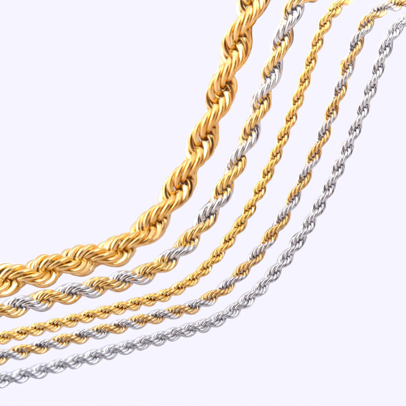 2.3/4/6mm*45-66cm Vintage stainless steel Rope chain necklace jewelry for men and women mixed 18K gold and silver plated colors(China (Mainland))