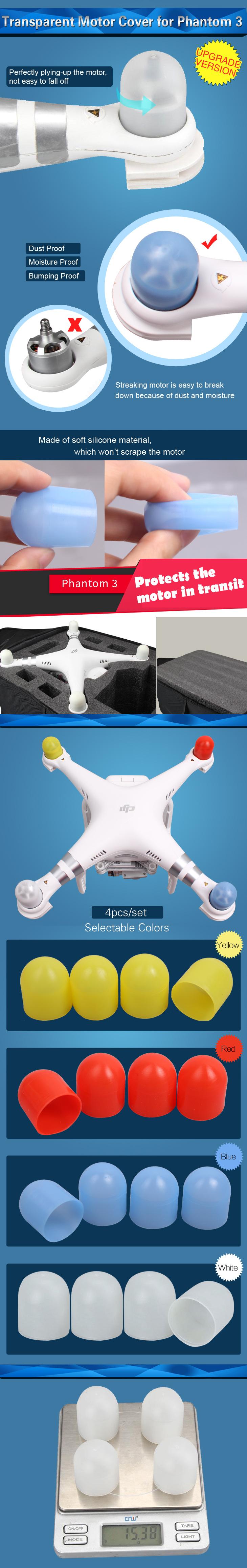 Free Shipping Transparent Motor Cover for DIJ Phantom 3 Rc Quadcopter Drone 4 color available