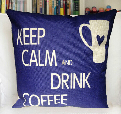ZT230 45x45cm Cotton pillow blue Coffee cup cushion sofa cushion cover on the pillowcase(China (Mainland))