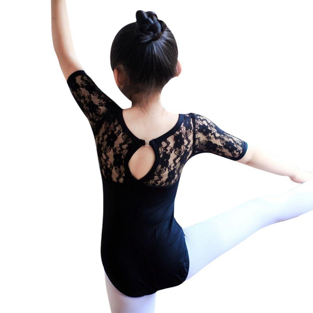 Child Kids Girl Ballet Dance Dress Lace Half Sleeve Gymnastics Leotard Clothes LG78Одежда и ак�е��уары<br><br><br>Aliexpress