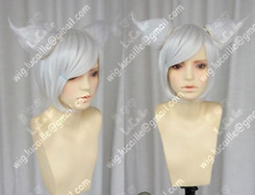 HOT sell Free Shipping &gt;&gt;&gt;&gt;Demon fairy costume Short Silver White Cosplay Wig + 2PC Fox Ears Wig<br><br>Aliexpress