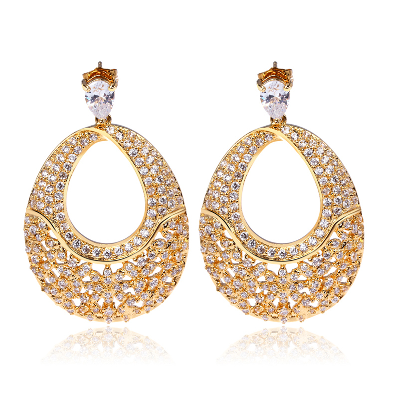 Wedding earrings for women gold plated with cubic zircon rhinestone earrings new design style Design and style fashion jewelry