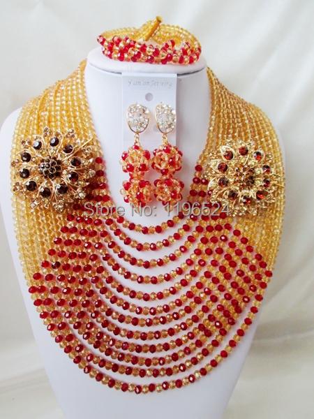Здесь можно купить  Luxury   Crystal Necklaces Bracelet Earrings African Nigerian Wedding Beads Jewelry Set   A-10155 Luxury   Crystal Necklaces Bracelet Earrings African Nigerian Wedding Beads Jewelry Set   A-10155 Ювелирные изделия и часы