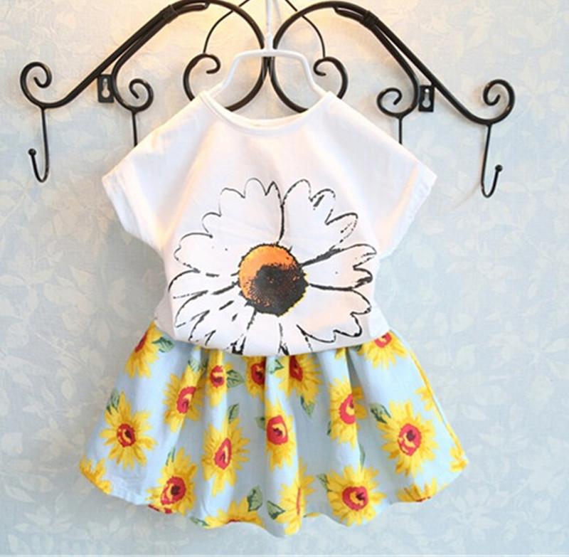 Korean children's clothing baby girls summer suits Sunflower modal T-shirt + Signature Cotton skirts - LOVE FASHION FACTORY CO.,LTD store