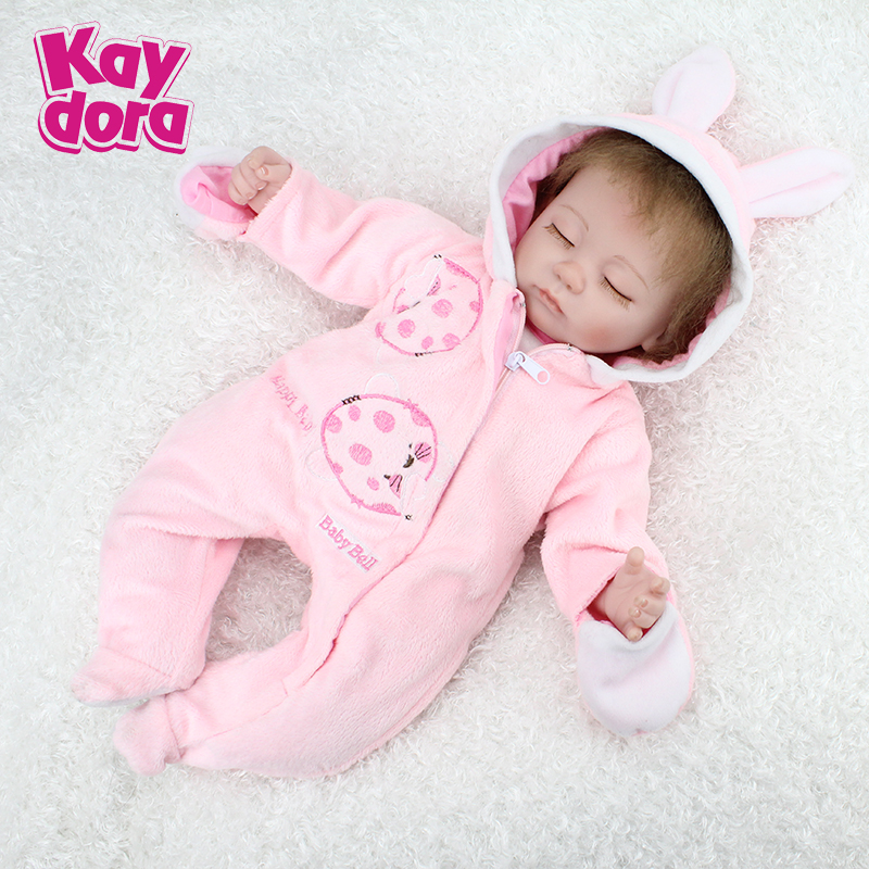 US KAYDORA 17inch 45cm Silicone Reborn Baby Doll Mohair Kawaii Lifelike Babies Toys Dolls Gift For Children brinquedos(China (Mainland))