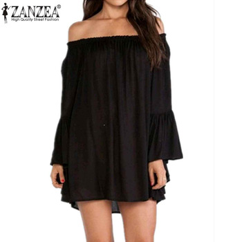 2016 Zanzea New Women Casual Loose Dress Sexy Slash Neck Off Shoulder Femininas Dress Plus Size 4 Color Dresses S M L XL 2XL 3XL