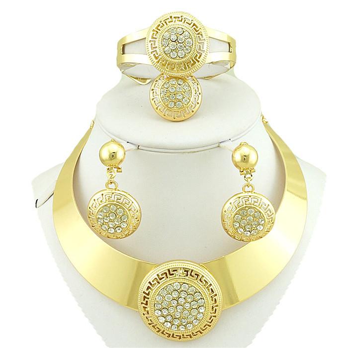 18k gold jewelry sets gold plated jewelry set fashion jewelry costume wedding jewelry set african women necklace(China (Mainland))