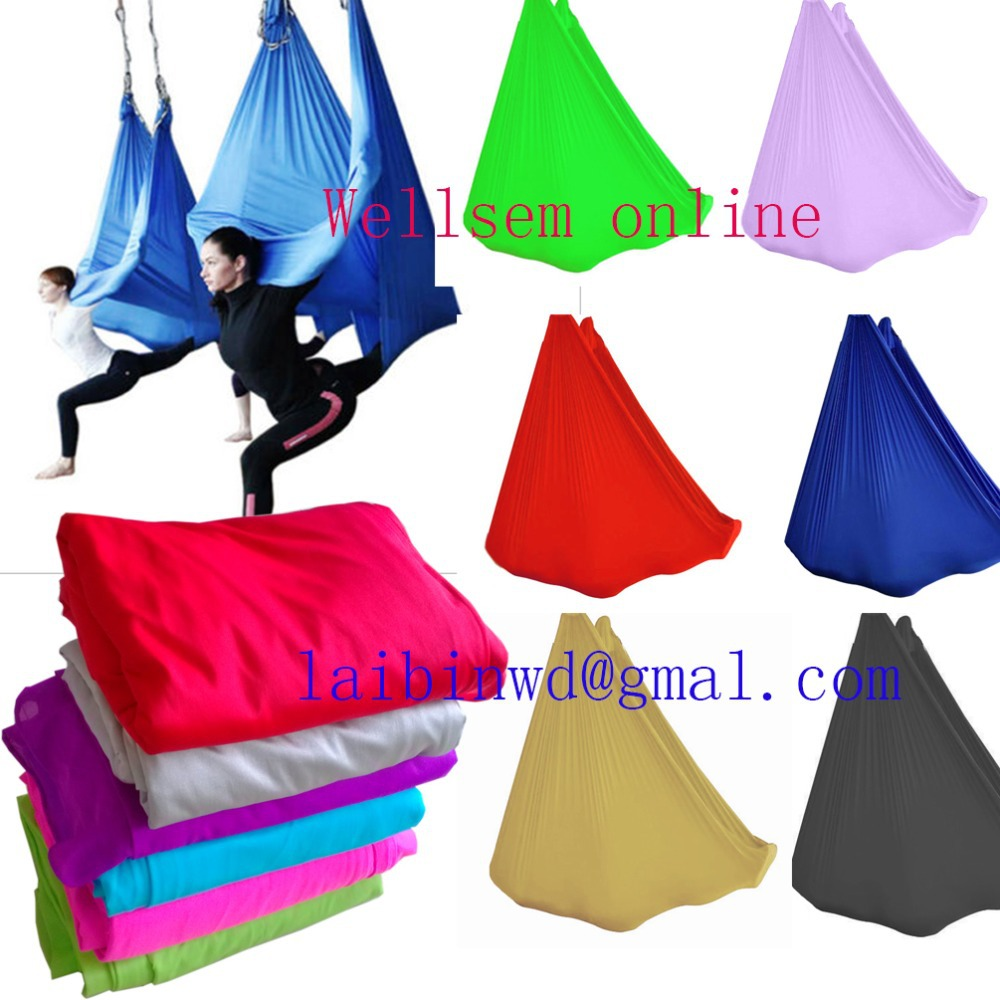 Customized Length Aerial Flying Yoga Hammock frabic Swing Trapeze Anti-Gravity Inversion Traction touch Device W 2.8m  -  Wellsem Sports & Fitness Equipment co,. ltd store