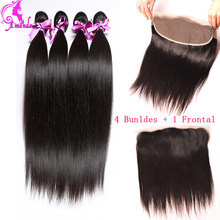 Peruvian Virgin Hair Straight Lace Frontal Closure With Bundles 4 pcs 7A Straight Hair Lace Frontals With Baby Hair Extension 1b