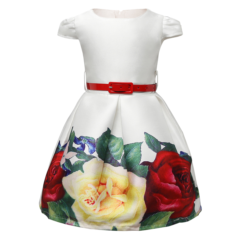 Retail 2017 Princess Girls Clothes Flower Kids Dresses For School Wear Print Little Girl White Formal Dress Children Clothing(China (Mainland))