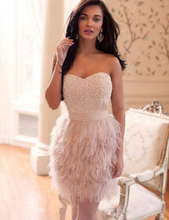 New Fashionable 2016 Sheath Heavy Beaded Party Dresses Vestidos Cocktail Sexy Pink Beading Short Feather Cocktail Dresses(China (Mainland))