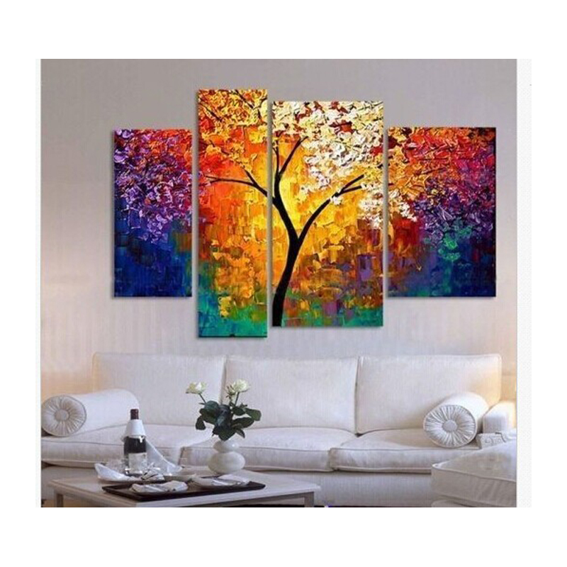 Handpainted oil painting palette knife paintings for living room wall large canvas art cheap for Best paintings for living room
