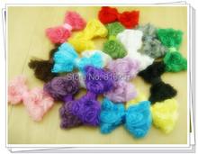 "DIY Hair Accessories 3"" Chiffon Rose Bows Rosette Bows Baby Hair Bow Wholesale 17colors stock 100 PCS/LOT Free Shipping(China (Mainland))"