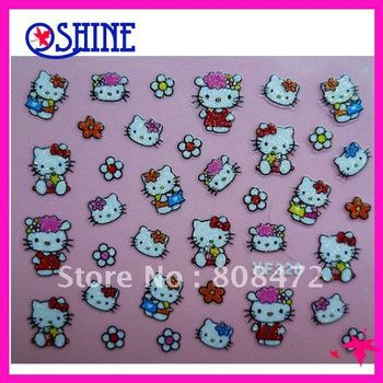 High Quality! Hot Selling!  100 Sheets 3D Hello Kitty Nail Sticker Nail Art Sticker