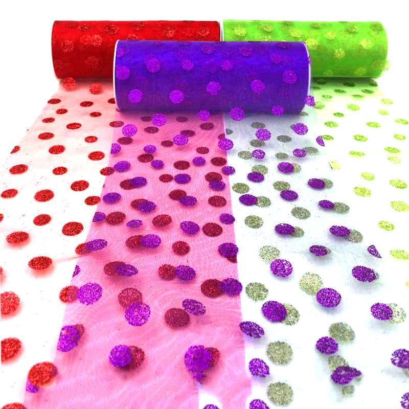 """Polka Dot Tulle Gift Ribbon Apparel Sewing Fabric Wedding Decoration Supplies Accessory Cloth Tulle 6""""*10yd roll 5 colors 4456(China (Mainland))"""