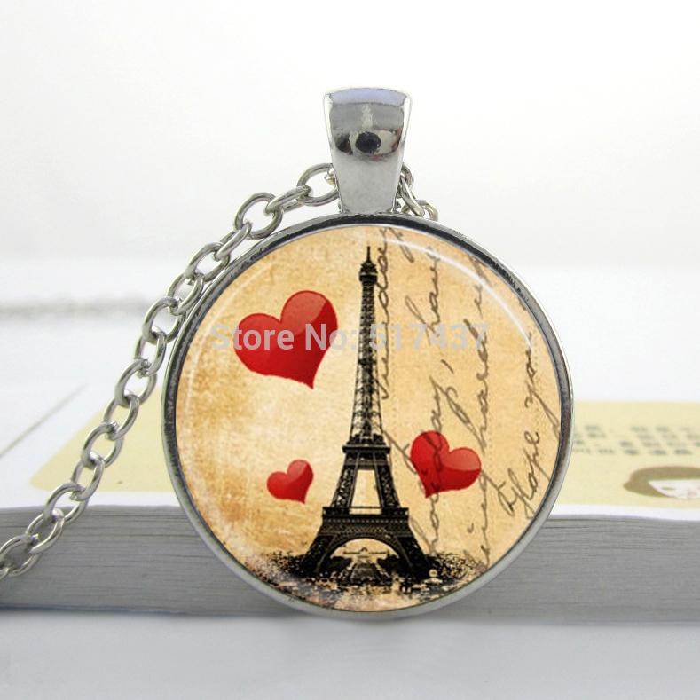 Vintage Eiffel Tower Necklace Paris Love France Heart Jewelry Postcard Pendant Love Tower Jewelry(China (Mainland))