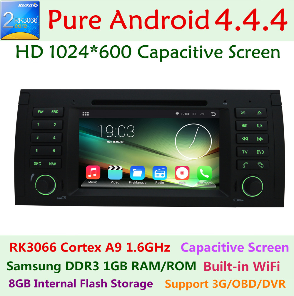 Capacitive Pixels 1024*600 Android 4.4 Car DVD Player For BMW X5 E53 E39 E38 M5 5 7 series 3G WIFI Stereo Radio GPS Navigation(China (Mainland))