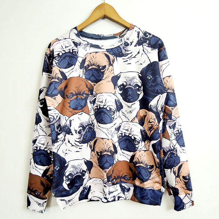 New autumn animal pug full print women men sweatshirt 3D funny hoodies cute streetwear fall fashion sweat shirts tops wholesale(China (Mainland))