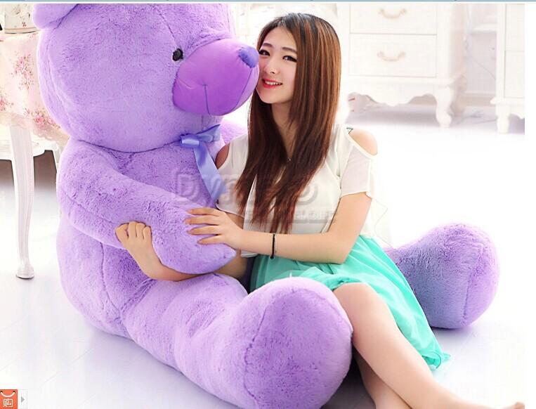 hugging pillow, 140cm purple bear plush toy lavender teddy bear doll gift b8379(China (Mainland))
