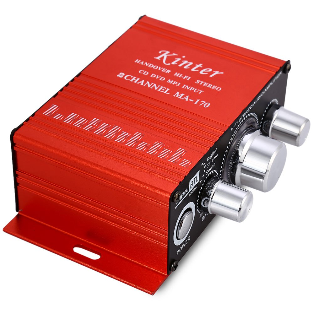 Kinter MA-170 Mini 12V 100W Hi-Fi Stereo Amplifier Booster DVD MP3 Red Speaker for Car Motorcycle Sound Mode Audio Support(China (Mainland))