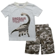 children boys army clothing set summer  fashoin kids clothes set kids boy cotton print dinosaur t shirt and camouflage pant suit(China (Mainland))