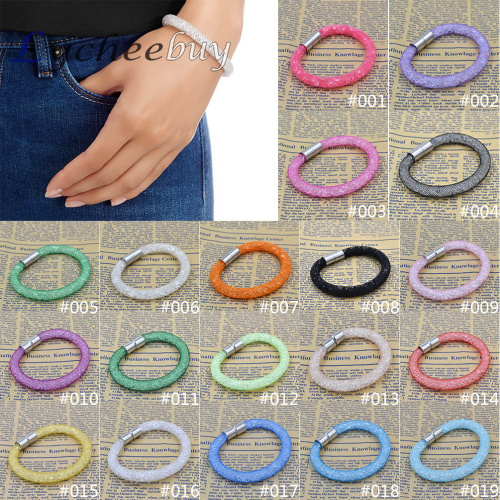 Colorful Stardust Bracelet Magnetic Crystal Cuff Bracelet Wrap Mesh Magnetic Clasp Double Gift Pulseiras(China (Mainland))