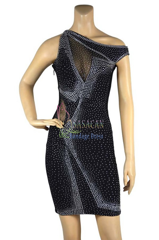 2015 New Black Mesh Rhinestone Bandage dress Elastic Knitted Dress Celebrity Cocktail Dresses Women - Quan Qin's store
