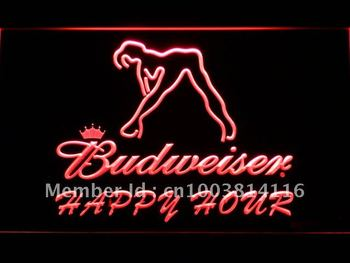 627-r Budweiser Sexy Dancer Happy Hour Bar LED Neon Sign