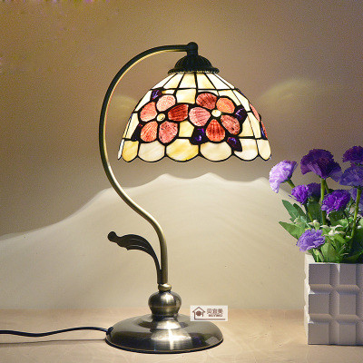 8 Inch Flowers Desk Lamp European Waratah Shell Lamp Bedroom Bedside Lamp Tiffany Flowers Table Lamp(China (Mainland))